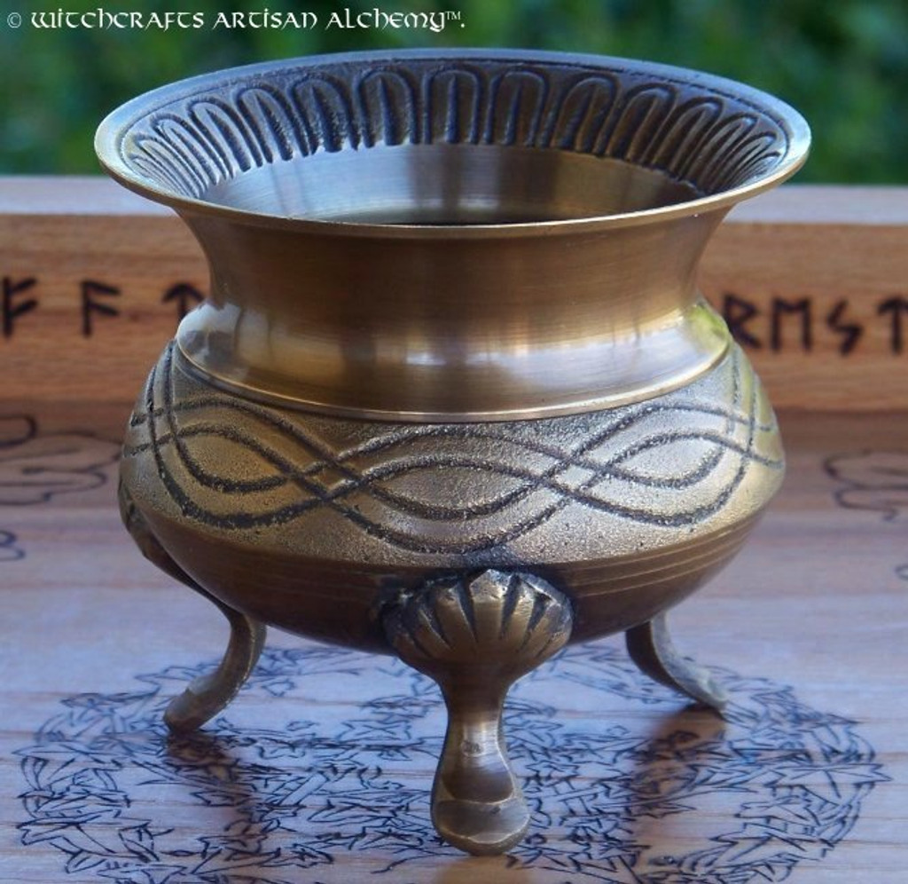 Celtic Knot Medieval Brass Cauldron