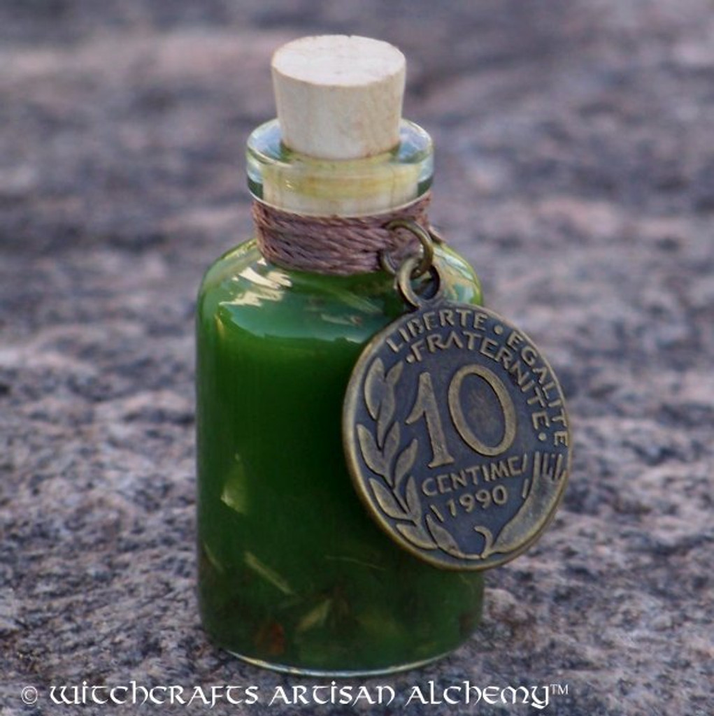 Charmed GREENFINGERS Artisan Alchemist Ritual Oil w/ Real Gold & U.S. Currency