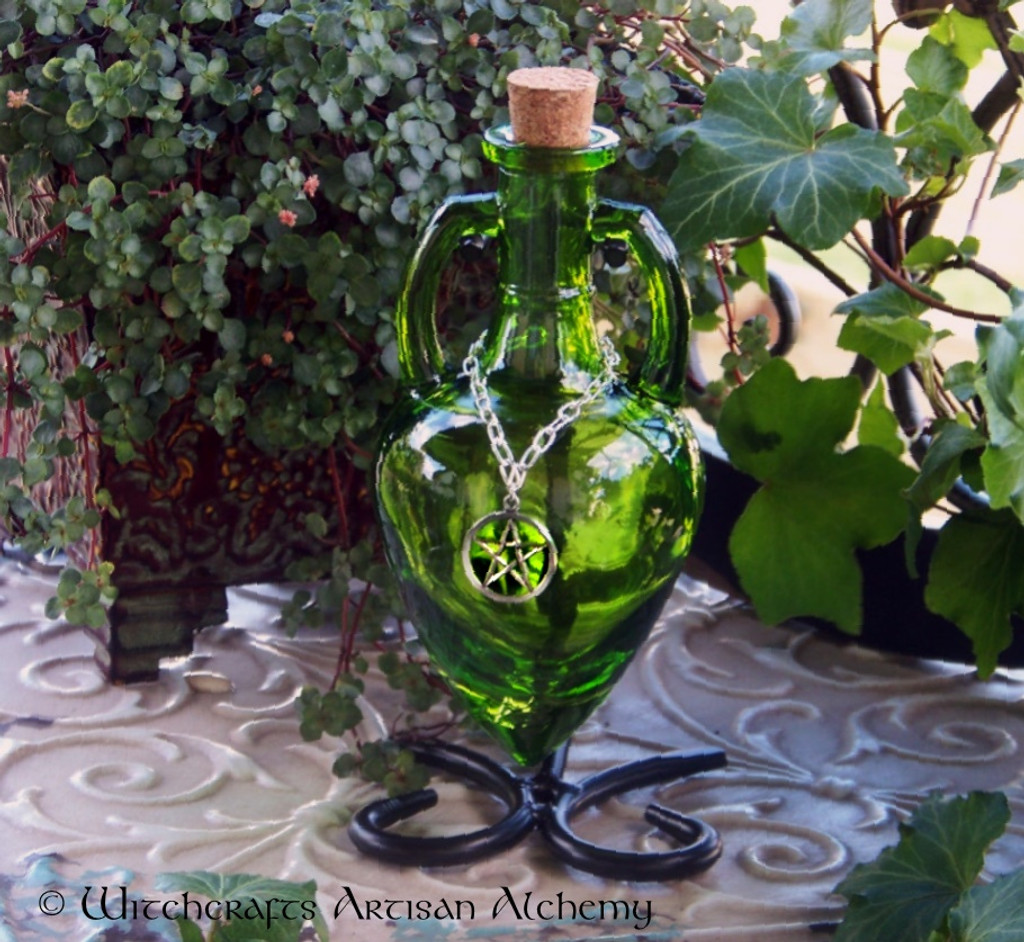 GREENWITCH Lime Green Amphora w/ Stand, Optional Silver Pewter Pentacle Adornment