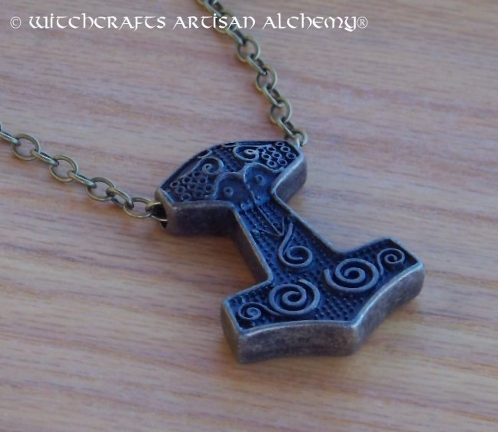 ANSGARD THOR'S HAMMER Mjölnir Double Faced Amulet Pendant Necklace