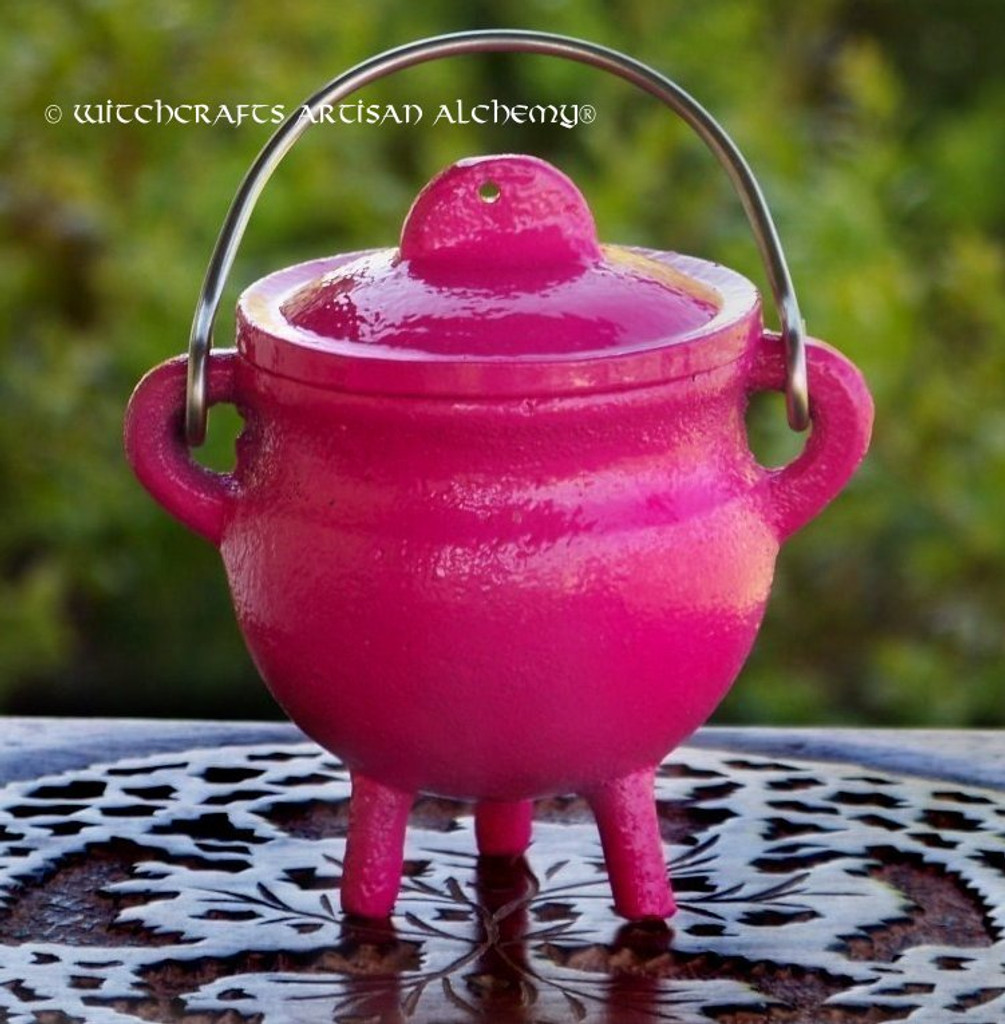 FAERY MAGIC Pink Cast Iron Cauldron w/ Lid