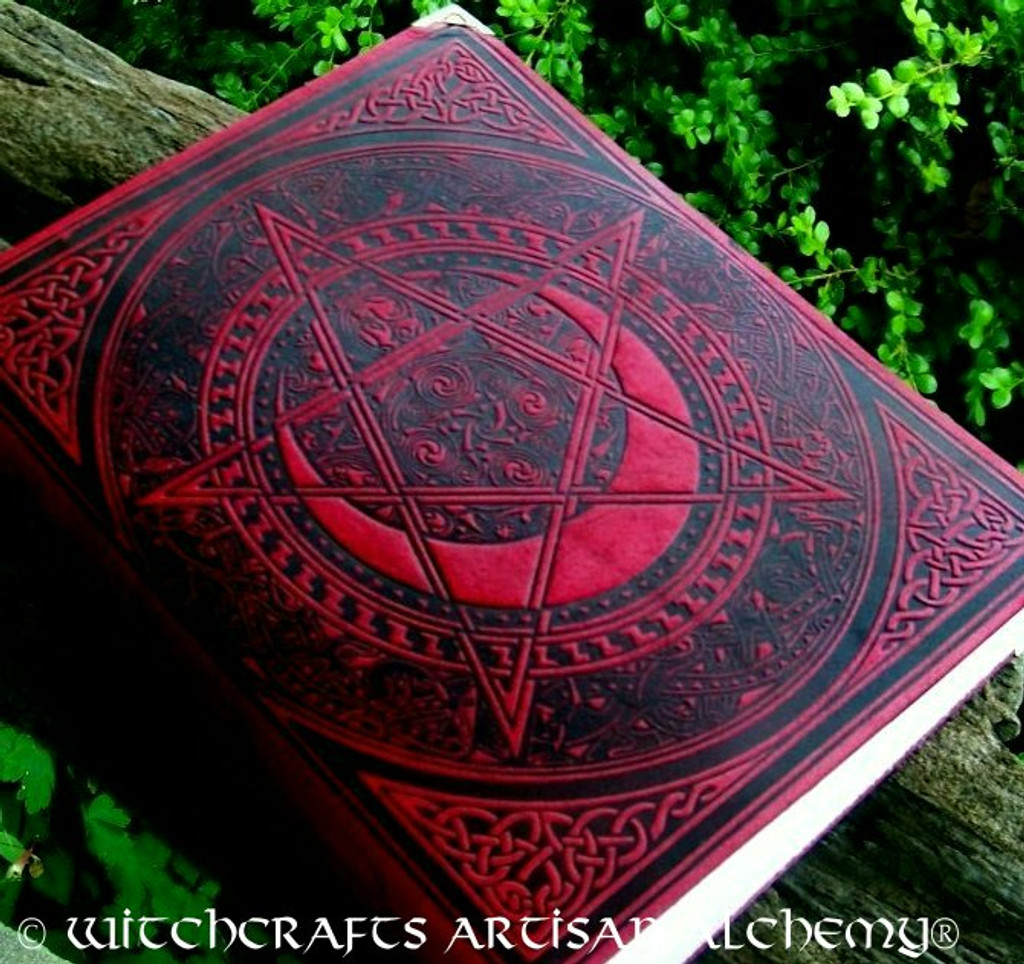 PENTACLE POWER Book of Shadows - Bordeaux Red Leather Bound BOS