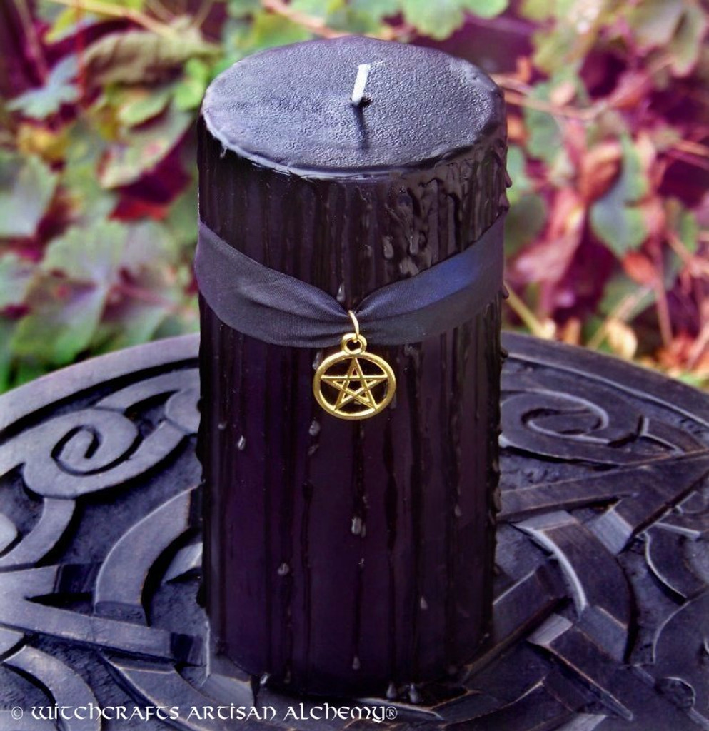 WITCHING HOUR Old European Black Pillar Candle w/ Gold Pentacle, 3x6
