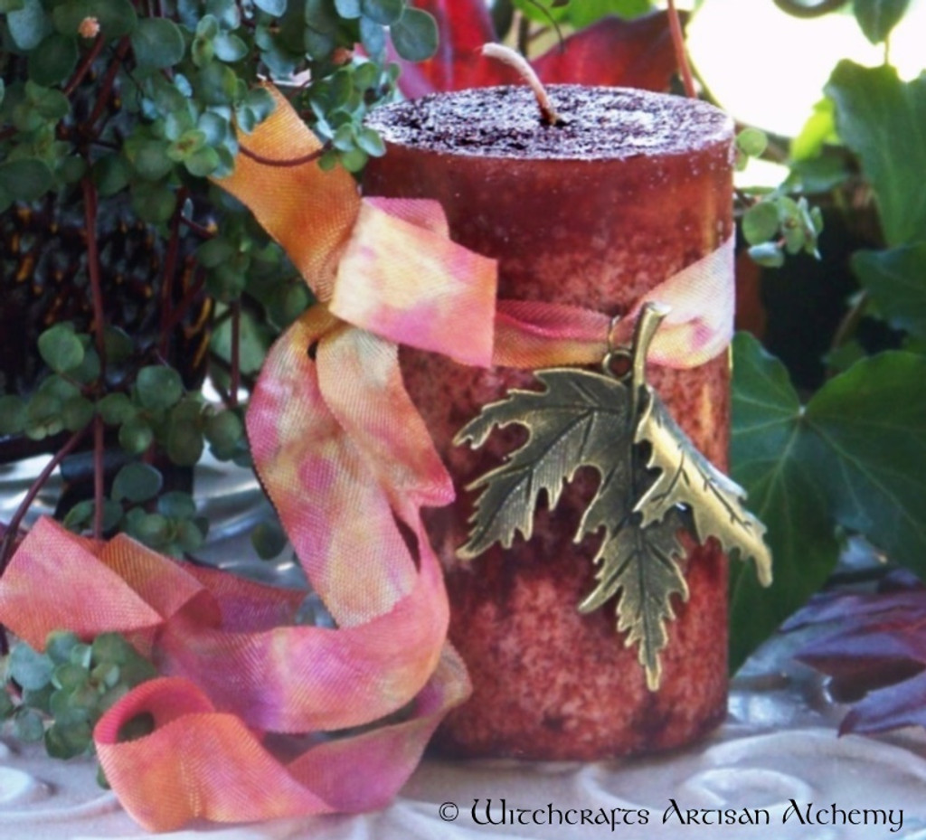 "RADIANT RED MAPLE ""Old European Witchcraft"" Pillar Candle"