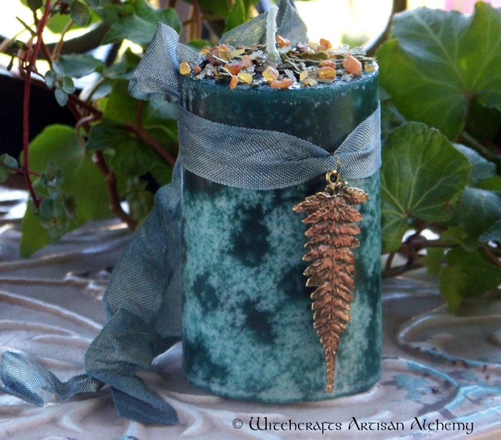 "CEDARWOOD AMBER ""Old European Witchcraft"" Pillar Candle"