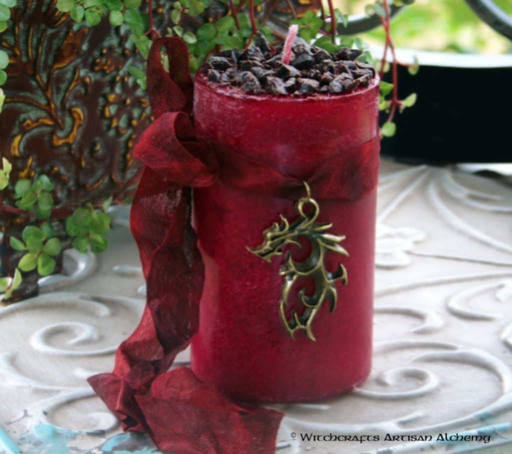 "BLOOD DRAGON ""Old European Witchcraft"" Deep Red Pillar Candle"
