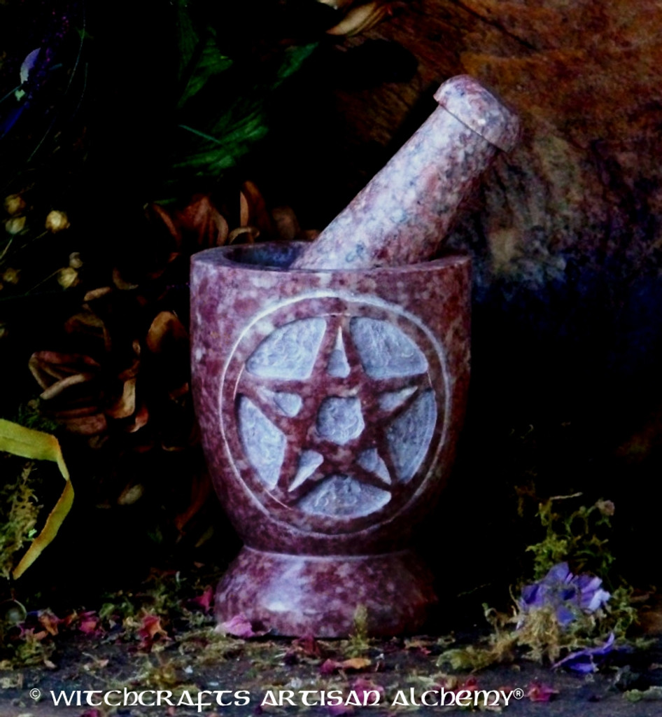 ANCIENT OFFERINGS Pentacle Soapstone Mortar & Pestle