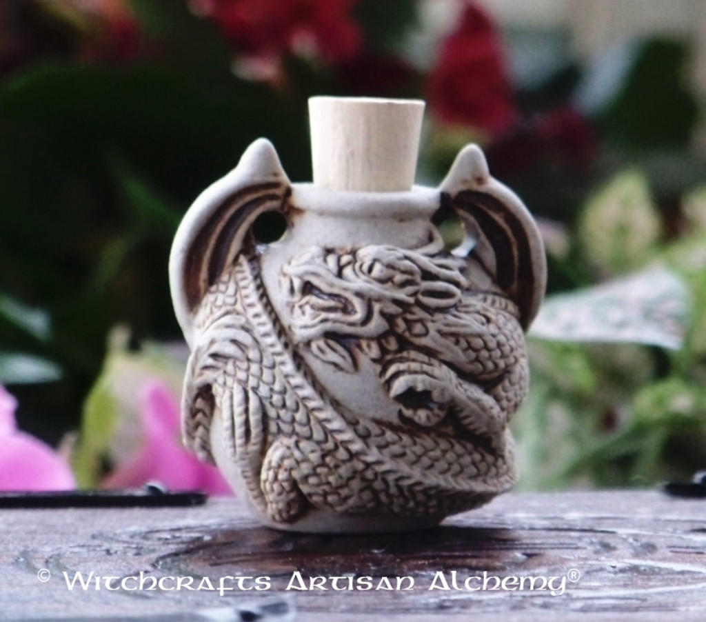 DRAGON SERPENT SPIRIT Fired Clay Pendant Potion Bottle