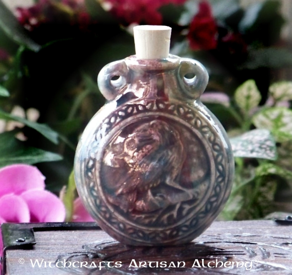 RAVEN SPIRIT Ceramic Pendant Potion Bottle