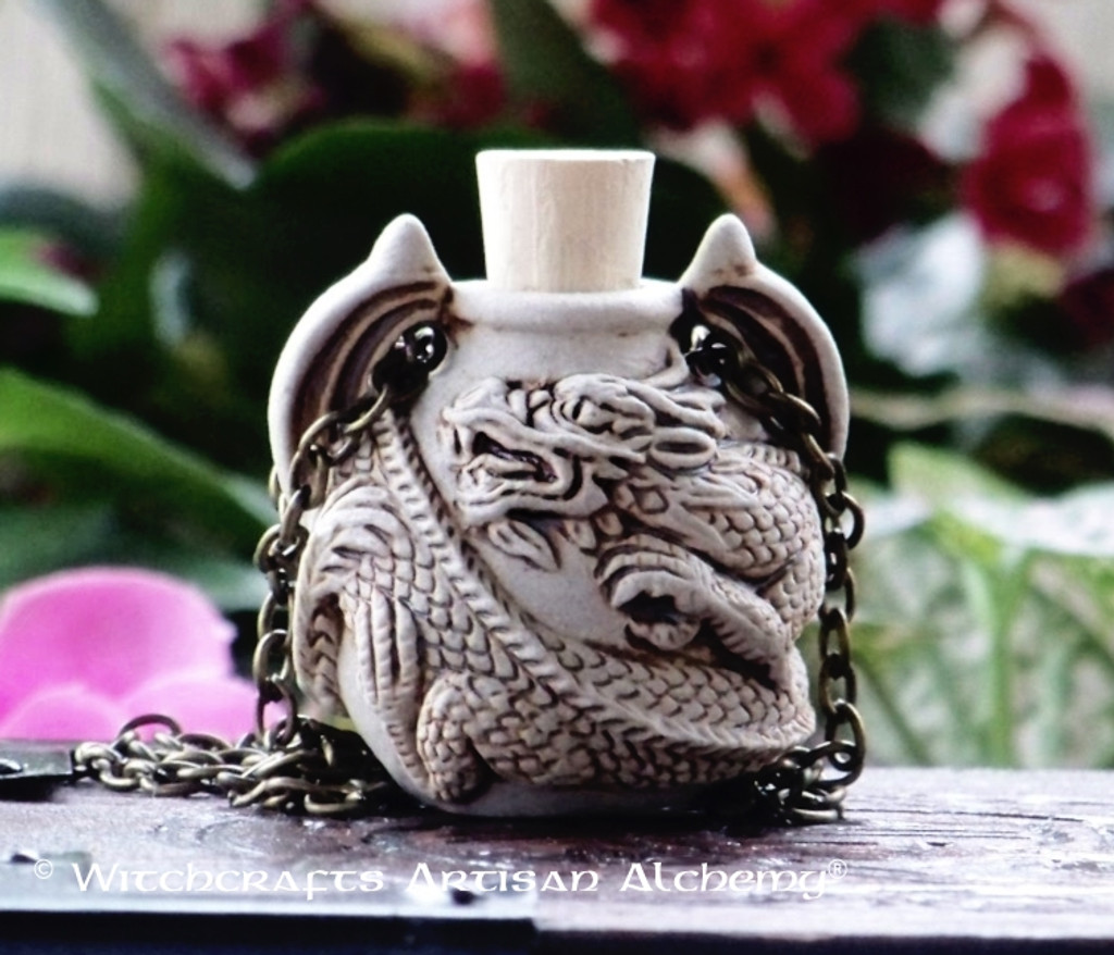DRAGON SERPENT Clay Bead Pendant Oil Bottle Necklace