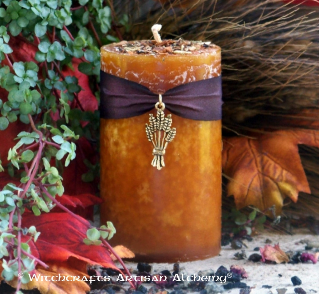 "HARVEST GOLD ""Old European Witchcraft"" Pillar Candle"