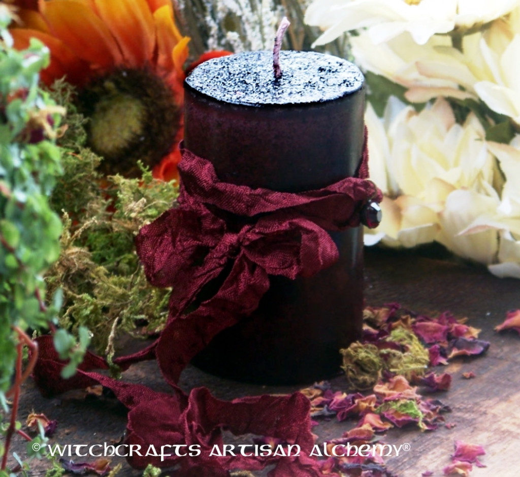 "SPICED POMEGRANATE ""Old European Witchcraft"" Pillar Candle w/ Vintage Ruby Red Swarovski Crystal"
