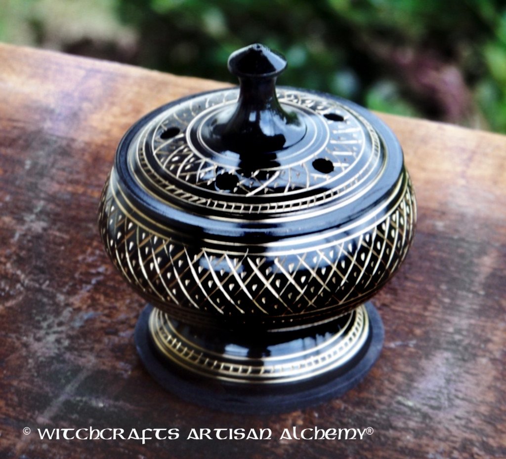 NIGHT QUEEN Black Engraved Brass Incense Burner