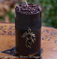 DRAGONS BLOOD Deep Burgundy Bronze Filigree Dragon Pillar Candle