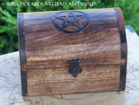 Pentacle Primitive Wooden Treasure Chest