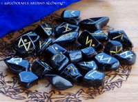Black Tourmaline Elder Futhark Rune Set