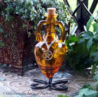 MAGICAL MASTERY Burnished Amber Gold Amphora w/ Stand, Optional Silver Pewter Pentacle Adornment