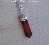 HEKA POWER Deep Carnelian Crystal Point Pendulum Pendant Necklace