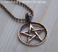 PENTAGRAM Solid Bronze Pendant Necklace on Antiqued Copper Ball Chain