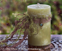 "DANU Old European ""Celtic Lights"" Pillar Candle w/ Hand Beaded Threads"