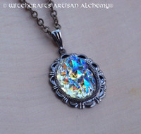 NORTHERN LIGHTS North Sea Aurora Borealis West German Volcano Glass Pendant Necklace