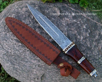 ARYA Dirk Wood Damascus Dagger Athame w/ Goat Leather Sheath