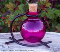 Fuschia Pink Round Glass Corked Potion Bottle w/ Stand