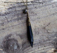 BLACK MOON Dark Goddess Witch's Wand Power Point Pendulum Necklace
