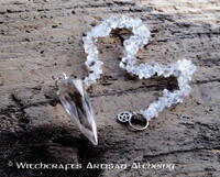 WITCH'S STAR Faceted Quartz Crystal Point Pendulum w/ Sterling Silver Pentacle