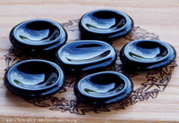 Hand Carved BLACK OBSIDIAN Scrying Palm Stones