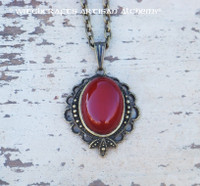 FIRETHORN Carnelian Oval Gemstone Pendant Necklace