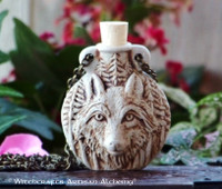 WOLF Clay Bead Pendant Oil Bottle Necklace