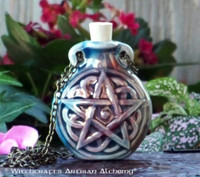 PENTACLE Ceramic Bead Pendant Oil Bottle Necklace