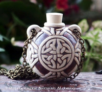 CELTIC KNOT Clay Bead Pendant Oil Bottle Necklace