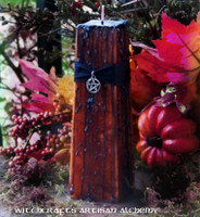 """HAUNTED PUMPKIN """"Old European Witchcraft""""Square Tapered Pillar Candle"""