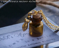 SPELL in a BOTTLE 22K Gold Goddess Vial Pendant Necklace