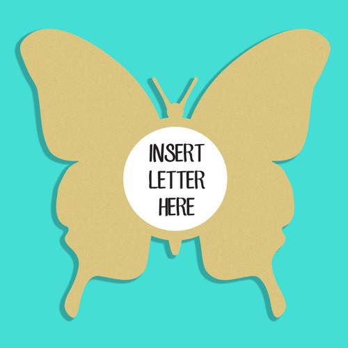 Butterfly 2 Frame Letter Insert Wooden Monogram Unfinished DIY Craft