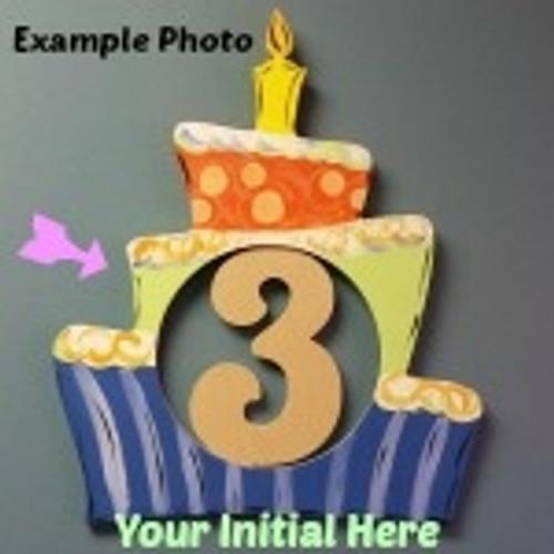 Birthday Cake Frame Letter Insert Wooden Monogram Unfinished DIY