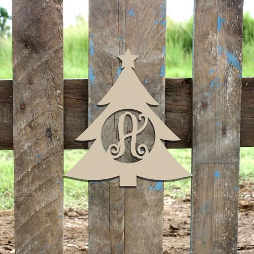 Christmas Tree Monogram Letter Frame Wooden Unfinished DIY Crafts