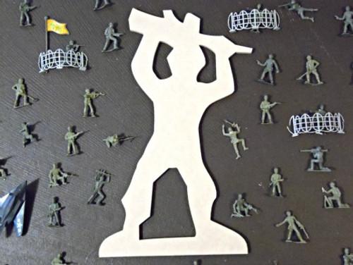 Machine Gun Man Unfinished Cutout, Wooden Shape, Paintable MDF  Craft