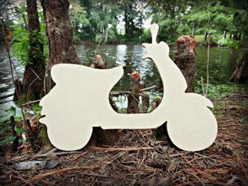 Moped Unfinished Cutout, Wooden Shape, Paintable Wooden MDF DIY Craft