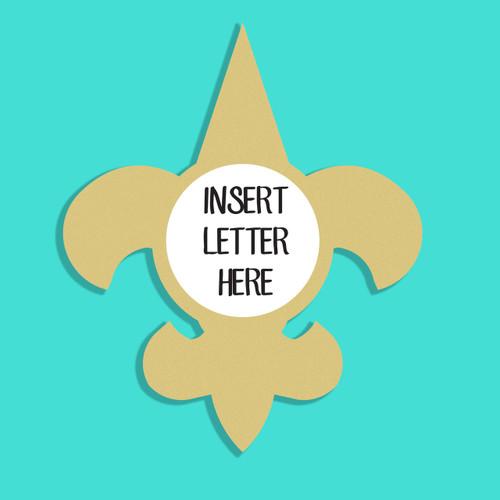Fleur de Lis Frame Letter Insert Wooden Monogram Unfinished DIY