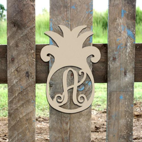Pineapple Frame Monogram Letter Wooden Unfinished  DIY Craft