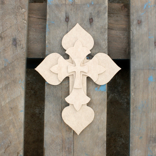 Unfinished Wooden Stacked Kit 7 Layered Crosses 9.5'' Sets Paintable Craft