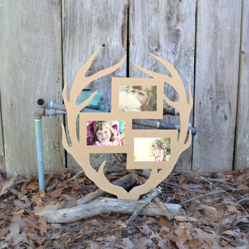 Unfinished Deer Antler Picture Frame Triple