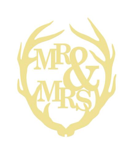 Antler Mr&Mrs Unfinished Cutout, Wooden Shape, MDF DIY Craft