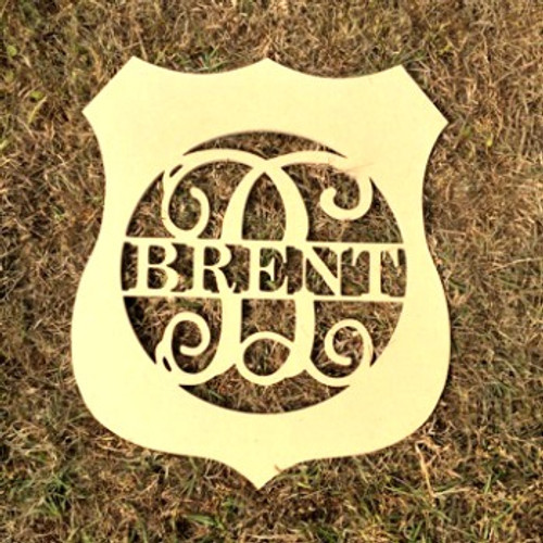 Police Badge Frame Family Name, Unfinished Framed Monogram