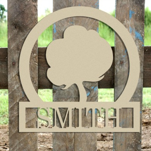 Cotton Frame Family Welcome Sign, Unfinished Framed Monogram