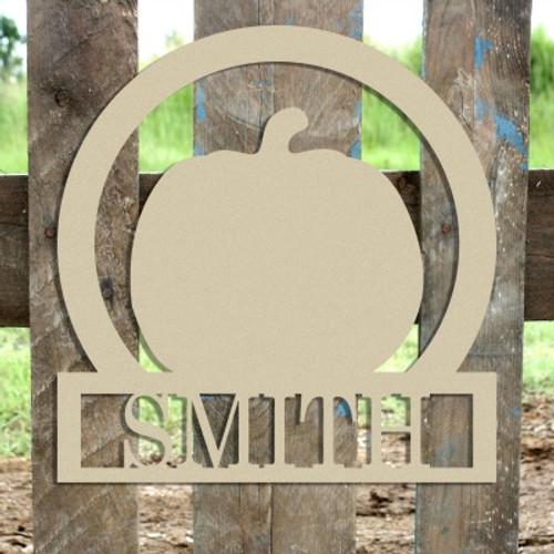 Pumpkin Frame Family Welcome Sign, Unfinished Framed Monogram