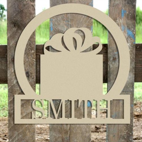 Christmas Present Frame Family Welcome Sign, Unfinished Framed Monogram